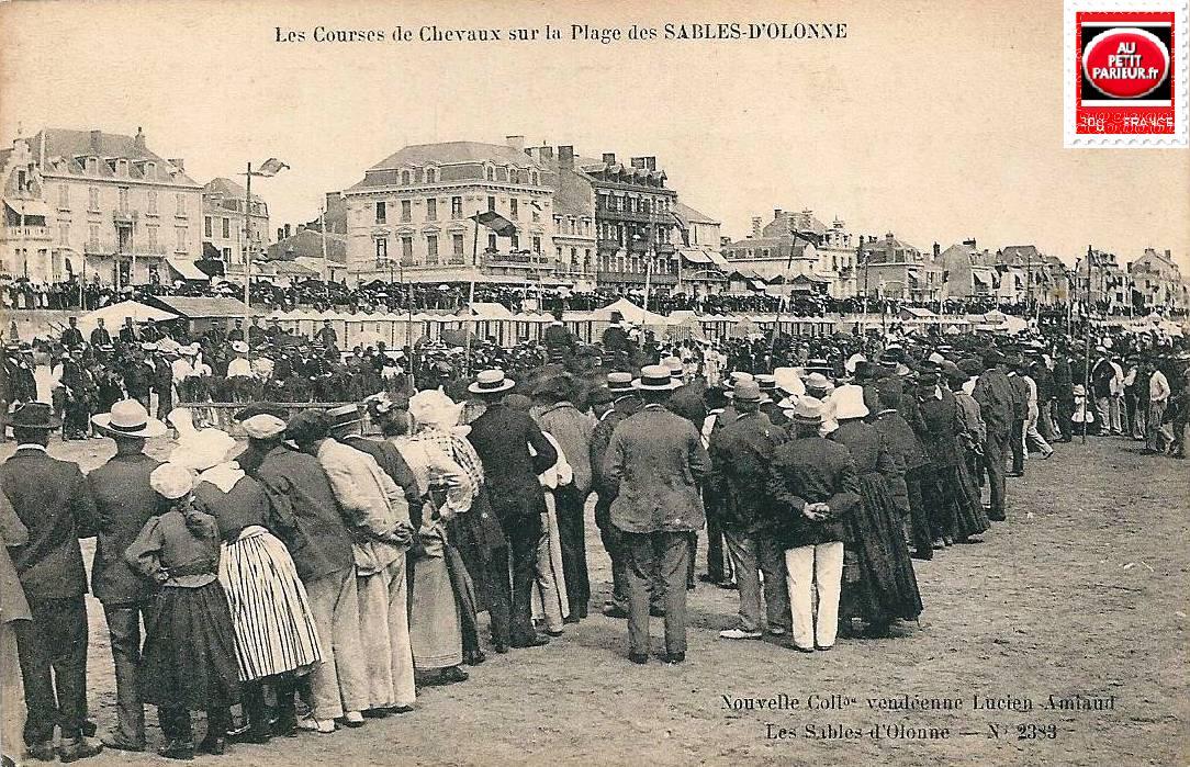 Les Sables d'Olonne, les courses de chevaux sur la plage.